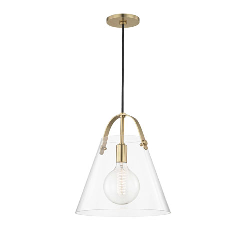 Mitzi by Hudson Valley Lighting Karin Aged Brass 13-Inch One-Light Pendant