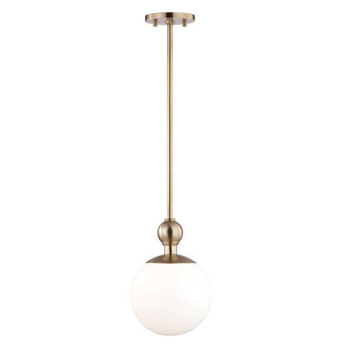 Mitzi by Hudson Valley Lighting Daphne Aged Brass 8-Inch One-Light Mini Pendant