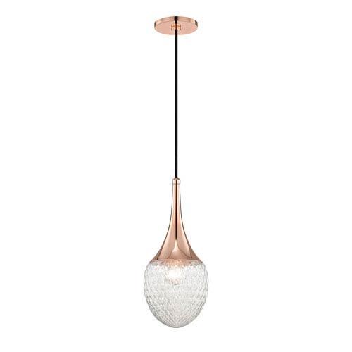 Bella Polished Copper 7-Inch One-Light Mini Pendant