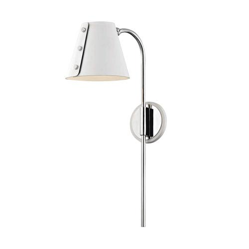 Meta Polished Nickel 7-Inch LED Wall Sconce with White Accents