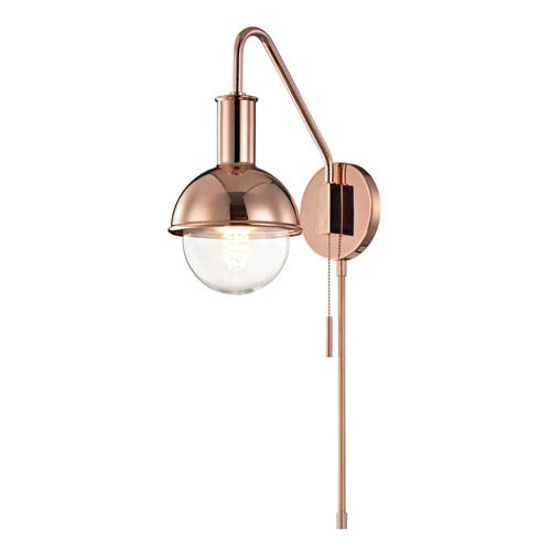Mitzi by Hudson Valley Lighting Riley Polished Copper 6-Inch One-Light Wall Sconce