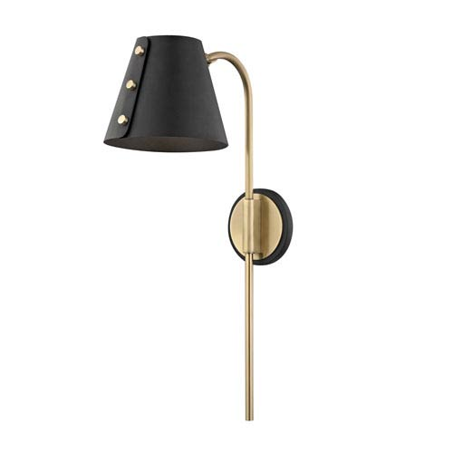 Meta Aged Brass 7-Inch LED Wall Sconce with Black Accents