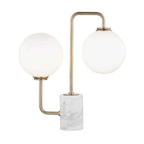 Mia Aged Brass 7-Inch Two-Light Table Lamp