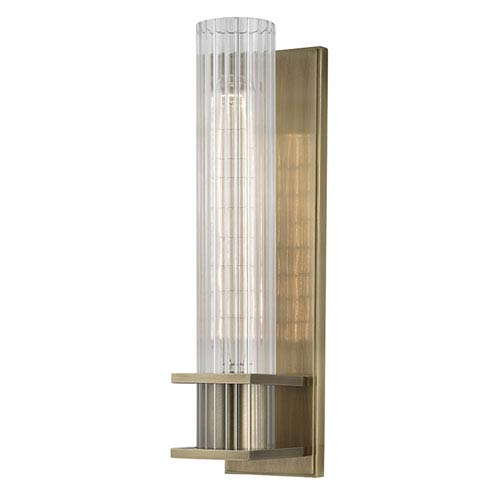 Hudson Valley Sperry Aged Brass One-Light Wall Sconce with Clear Glass Shade