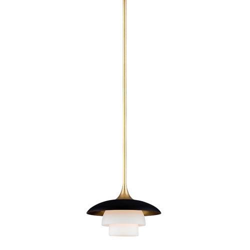Barron Aged Brass and Black One-Light Mini Pendant