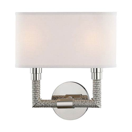 Hudson Valley Dubois Polished Nickel Inch Two Light Wall Sconce - Two light bathroom sconce