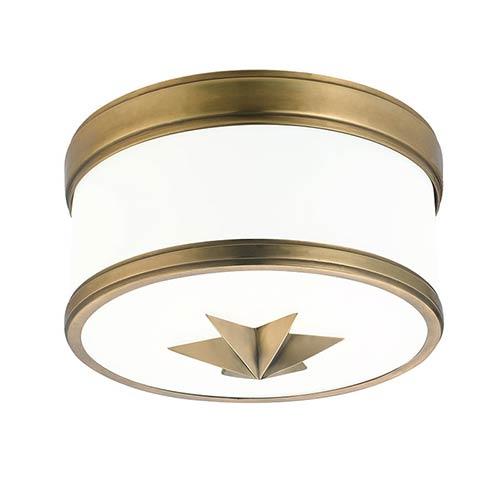 Seneca Aged Brass One-Light Flush Mount with Opal Glass