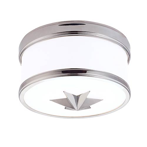 Hudson Valley Seneca Polished Chrome One-Light Flush Mount with Opal Glass