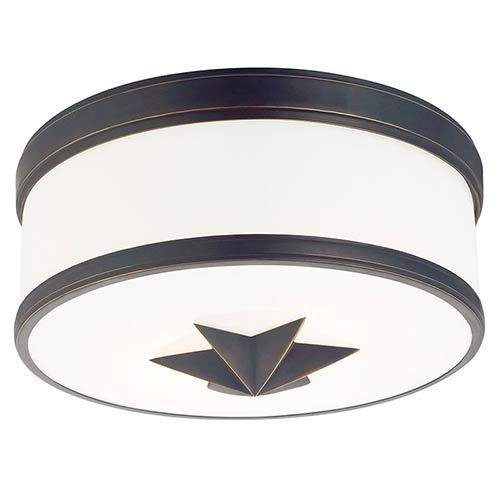Hudson Valley Seneca Old Bronze Two-Light Flush Mount with Opal Glass