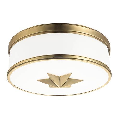 Seneca Aged Brass Three-Light Flush Mount with Opal Glass