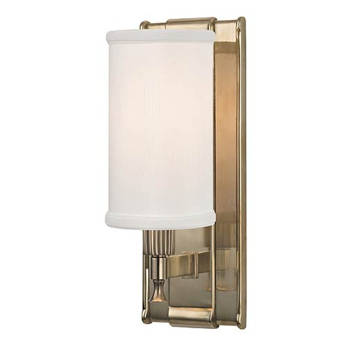 Hudson Valley Palmdale Aged Brass One-Light Wall Sconce with White Shade