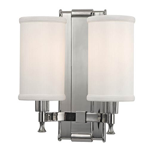 Hudson Valley Palmdale Polished Nickel Two-Light Wall Sconce with White Shade