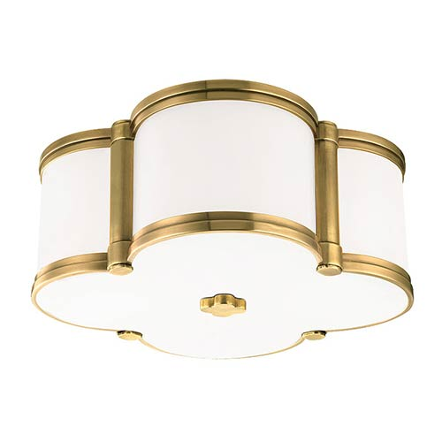Chandler Aged Brass Two-Light Flush Mount with Opal Glass