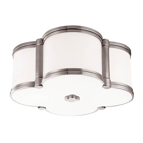 Chandler Polished Nickel Two-Light Flush Mount with Opal Glass