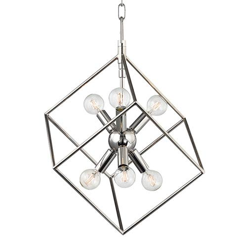 Roundout Polished Nickel Six-Light Pendant