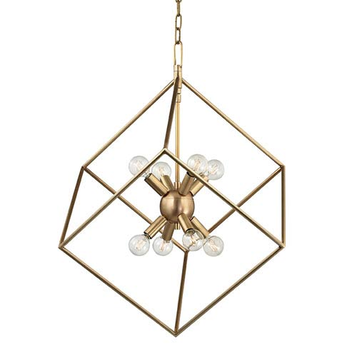 Roundout Aged Brass Eight-Light Pendant
