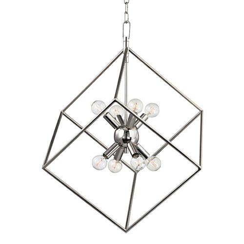Roundout Polished Nickel Eight-Light Pendant
