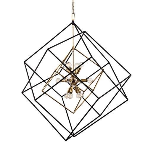 Roundout Aged Brass 12-Light Pendant