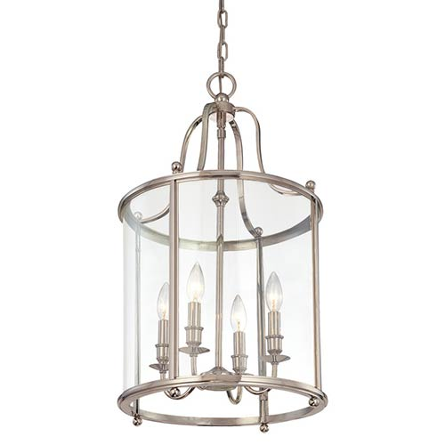Mansfield Four Light Polished Nickel Lantern Pendant