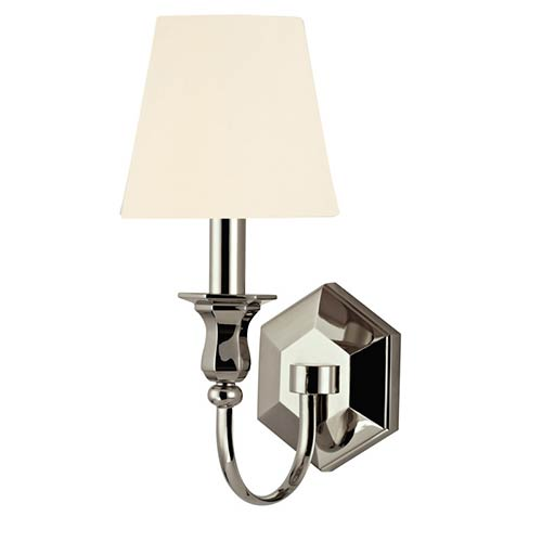 Hudson Valley Charlotte Polished Nickel One-Light Wall Sconce with White Shade