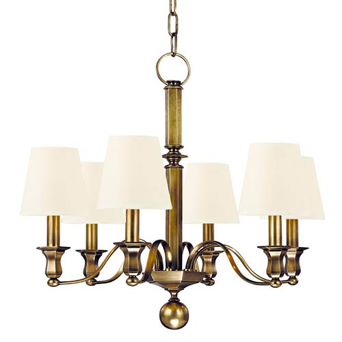 Hudson Valley Charlotte Aged Brass Six-Light Chandelier with White Shade