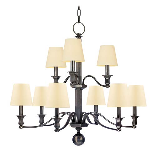 Hudson Valley Charlotte Old Bronze Nine-Light Chandelier with Cream Shade