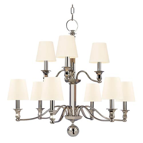Hudson Valley Charlotte Polished Nickel Nine-Light Chandelier with White Shade