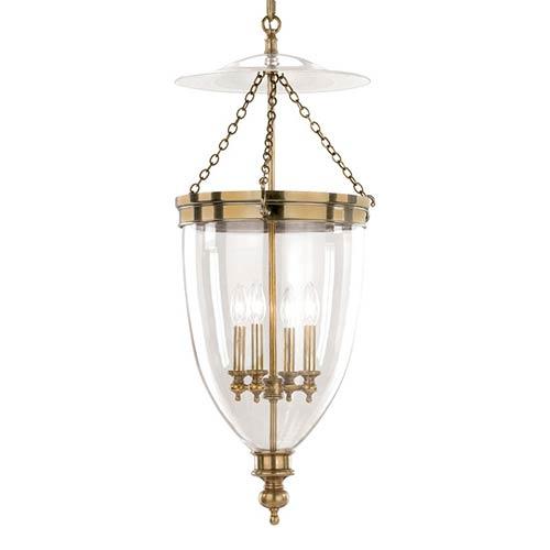 Hanover Four-Light Aged Brass Bell Pendant
