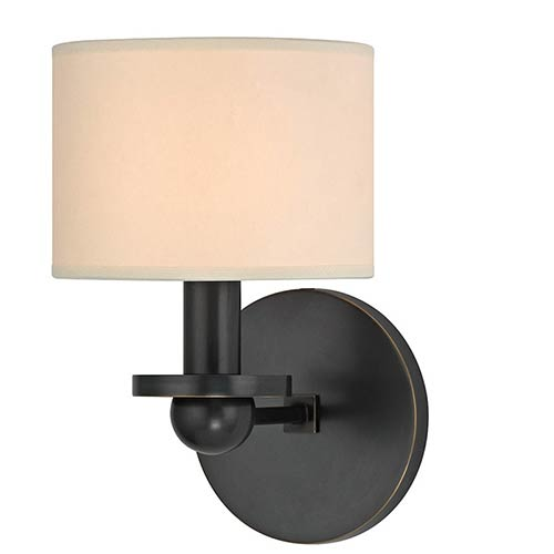 Hudson Valley Kirkwood Old Bronze One-Light Wall Sconce with Cream Shade