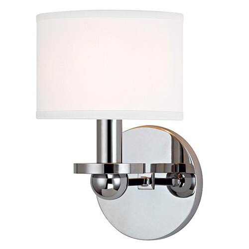 Hudson Valley Kirkwood Polished Chrome One-Light Wall Sconce with White Shade