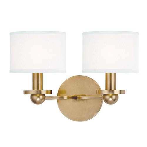 Hudson Valley Kirkwood Aged Brass Two-Light Wall Sconce with White Shade