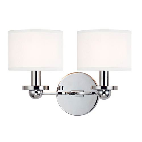 Hudson Valley Kirkwood Polished Chrome Two Light Wall Sconce With - Two light bathroom sconce
