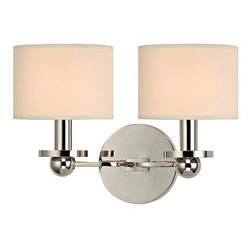 Hudson Valley Kirkwood Polished Nickel Two-Light Wall Sconce with Cream Shade