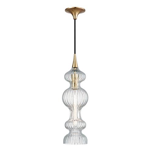 Pomfret Aged Brass One-Light Mini Pendant with Clear Glass