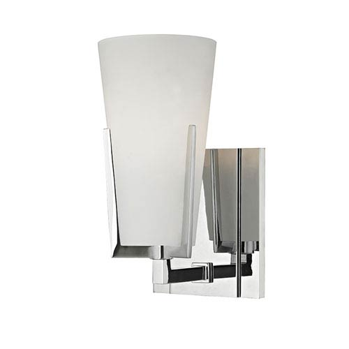 Upton Polished Chrome One-Light Vanity Fixture with Mouth-Blown Glass