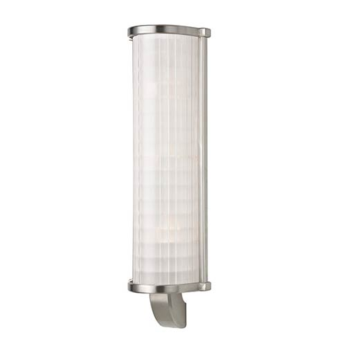 Hudson Valley Arcadia Satin Nickel Three-Light Wall Sconce with Frosted Etched Glass
