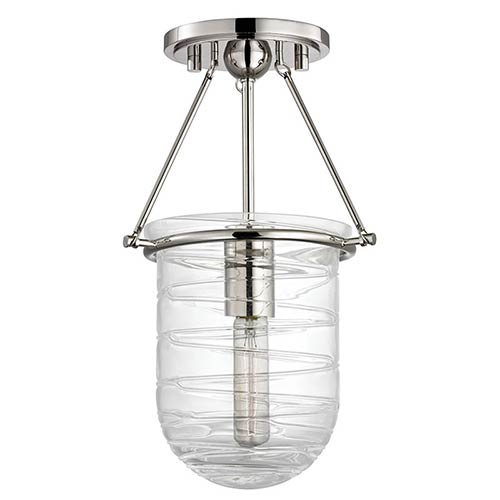 Hudson Valley Willet Polished Nickel One-Light Semi Flush with Clear Pressed Glass