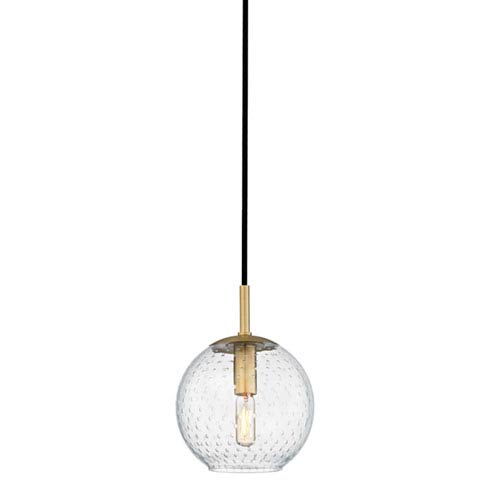 Rousseau Aged Brass One-Light Mini Pendant with Clear Glass
