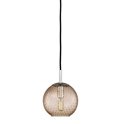 Hudson Valley Rousseau Polished Chrome One-Light Mini Pendant with Bronze Glass