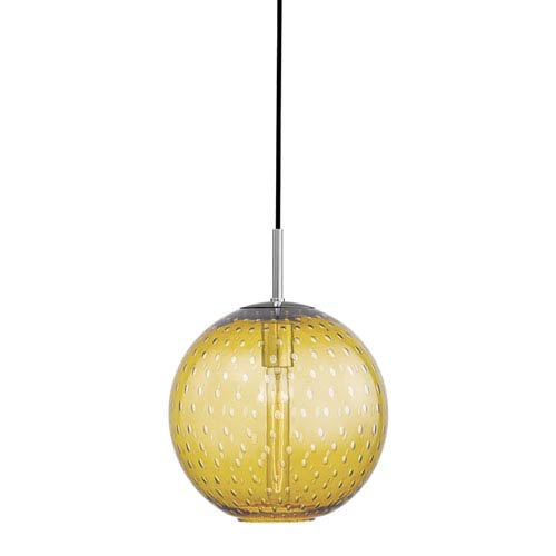 Rousseau Polished Chrome 11.5-Inch One-Light Pendant with Light Amber Glass