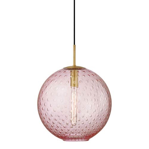 Hudson Valley Rousseau Aged Brass 16-Inch One-Light Pendant with Pink Glass
