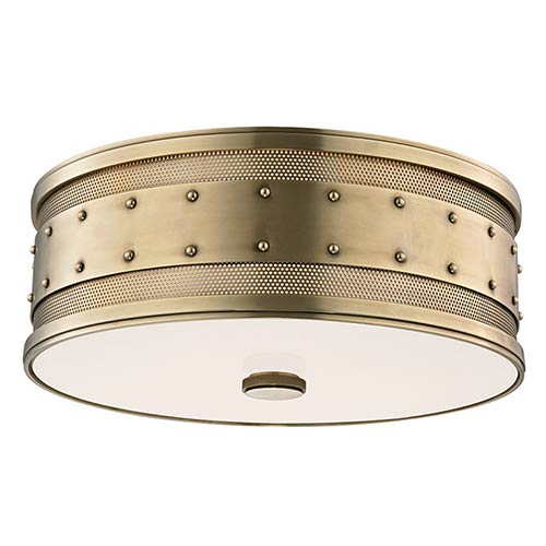 Gaines Aged Brass Three-Light Flush Mount with Frosted Inside-Clear Outside Glass