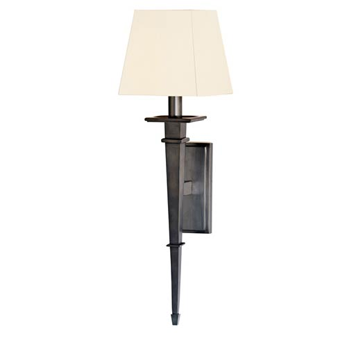 Hudson Valley Stanford Old Bronze Square One-Light Wall Sconce with White Shade