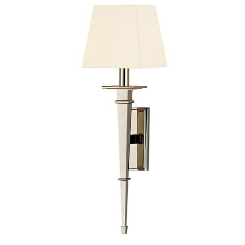 Stanford Polished Nickel Square One-Light Wall Sconce with White Shade