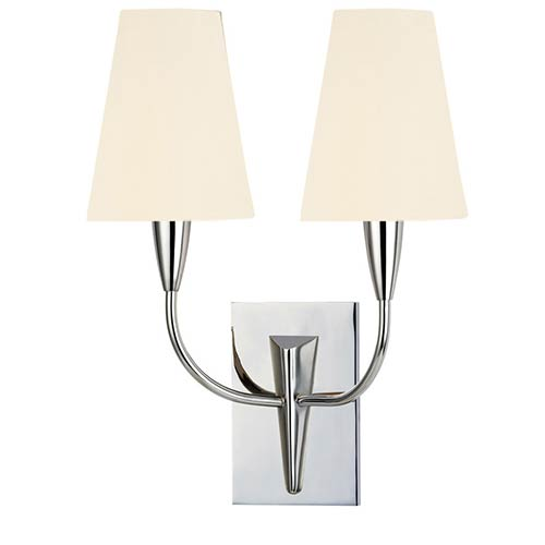 Berkley Polished Chrome Two-Light Wall Sconce with White Faux Silk Shade