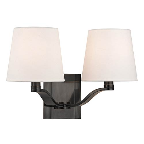 Hudson Valley Clayton Old Bronze Two-Light Wall Sconce with Linen Shade