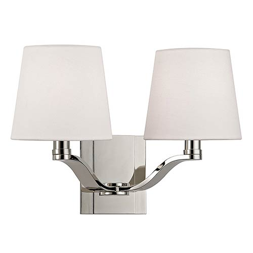 Hudson Valley Clayton Polished Nickel Two-Light Wall Sconce with Linen Shade