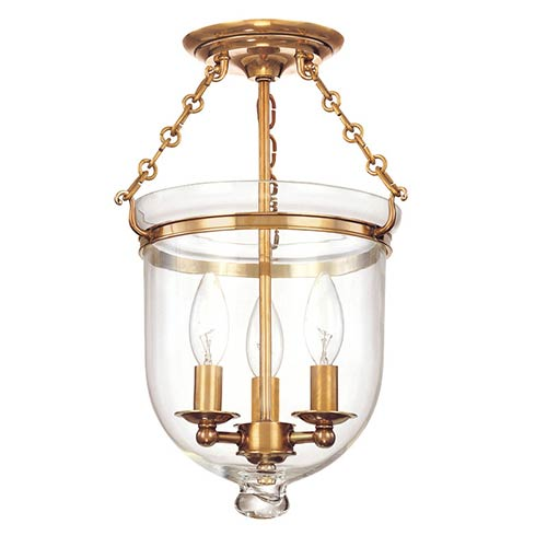 Hampton Small Aged Brass Semi Flush Ceiling Light