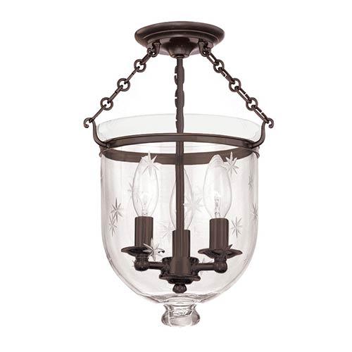 Hampton Old Bronze 15-Inch Three-Light Semi Flush with Clear Star Cut Glass