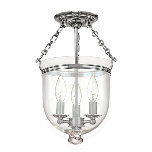 Hampton Small Polished Nickel Semi Flush Ceiling Light